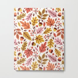 Leaves & Acorns Metal Print