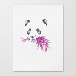 Panda Bear & Bamboo - Purple Canvas Print