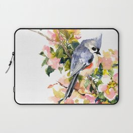 Titmouse Bird and Spring Blossom, floral pink green spring colors Laptop Sleeve