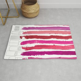 Lipstick Stripes - Floral Fuschia Red Rug