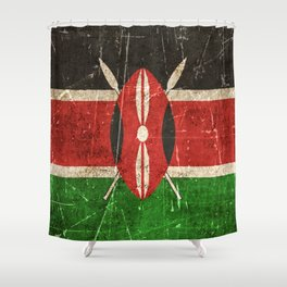 Vintage Aged and Scratched Kenyan Flag Shower Curtain