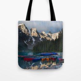 Lake Moraine Canoes Tote Bag