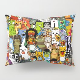 Funny Characters Collage — Culture & Science By Cats Pillow Sham