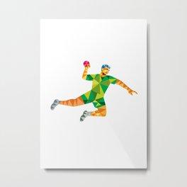 Handball Player Jumping Throwing Ball Low Polygon Metal Print