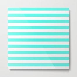 Stripes (Turquoise & White Pattern) Metal Print