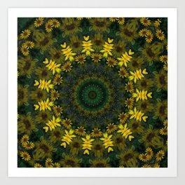 Large Yellow Wildflower Kaleidoscope Art 9 Art Print