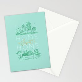 Shelf with flowers home sweet home turquoise Stationery Cards