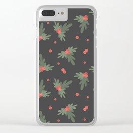 Christmas Mistletoe On Black Decor Clear iPhone Case