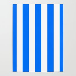 Brandeis blue - solid color - white vertical lines pattern Poster