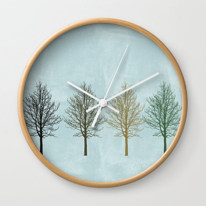 Four Colors Trees Wall Clock