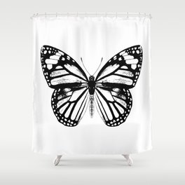 Monarch Butterfly | Black and White Shower Curtain