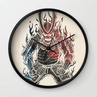 samurai Wall Clocks featuring Samurai  by Mikio Murakami