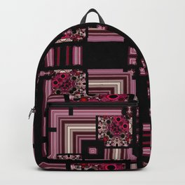 Abstract Pink Black Square Multi Pattern design Backpack