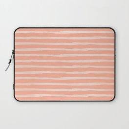 Sweet Life Thin Stripes Peach Coral Pink Laptop Sleeve