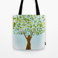 tree of life Tote Bags featuring Life tree by Michelle Behar