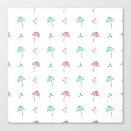 Modern hand drawn pastel pink teal floral umbrella pattern Canvas Print
