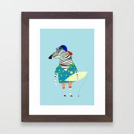 surfer zebra Framed Art Print