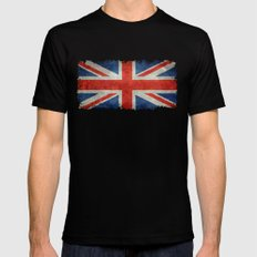 British flag of the UK, retro style Black Mens Fitted Tee MEDIUM