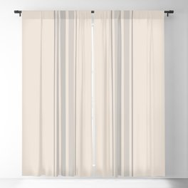 Simple Farmhouse Stripes in Gray on Beige Blackout Curtain