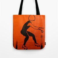 pivot Tote Bags featuring Manhattan Mayhem by JezRebelle