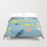 wes anderson Duvet Covers featuring Flying Kitties by Estée Preda