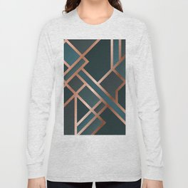Green Art Deco Long Sleeve T-shirt