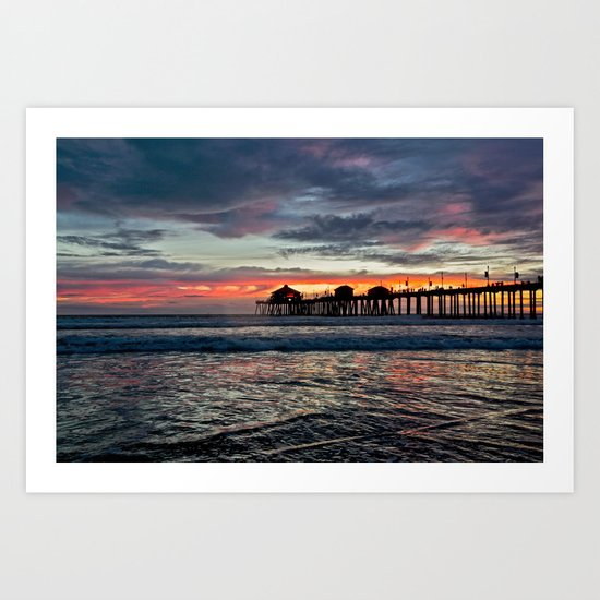 Huntington Beach Sunset  1/26/14 Art Print