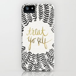Treat Yo Self – Black & Gold iPhone Case