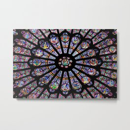 Notre-Dame Cathedral Colorful Stained Glass Metal Print