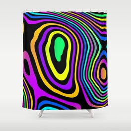 Neon Grains on Black Shower Curtain