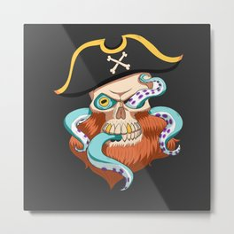 Skeleton pirate Octopus Metal Print