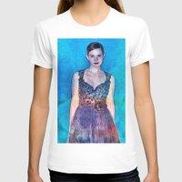 emma stone T-shirts featuring Emma Watson - Blue by André Joseph Martin