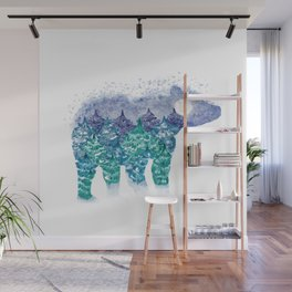 Polar Bear Pine Trees and Snow Wall Mural