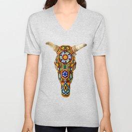 Huichol Bull Skull Unisex V-Neck