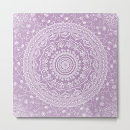 Secret garden mandala in pale lavender Metal Print