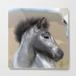 Watercolor Horse 01, Icelandic Pony, Kufhol, Iceland, Just Me! Metal Print