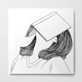 Wall art girl has a book on her face Metal Print