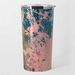 Coral Reef [1]: colorful abstract in blue, teal, gold, and pink Travel Mug
