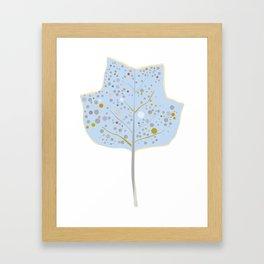 Blue Leaf Illustration Framed Art Print