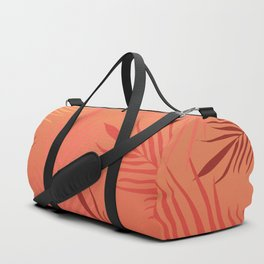 Living coral palm leaves Duffle Bag