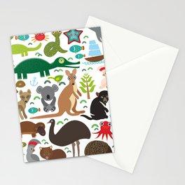 Animals Australia: Echidna Platypus ostrich Emu Tasmanian devil Cockatoo parrot Wombat snake turtle Stationery Cards