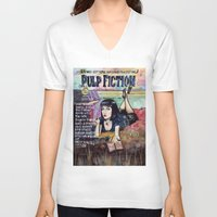 pulp fiction V-neck T-shirts featuring Pulp Fiction by Jessis Kunstpunkt.