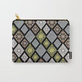4 Metallic Ink Mandala-Diamonds Textile Carry-All Pouch