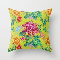 oriental Throw Pillows featuring Oriental Flowers by Chicca Besso