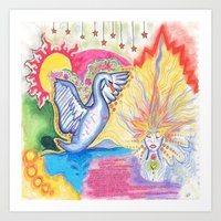 swan Art Prints featuring swan  by Spirit Candy