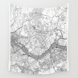 Seoul Map Line Wall Tapestry