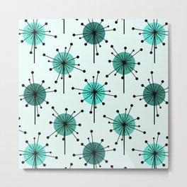 Atomic Era Sputnik Starburst Flowers Turquoise Metal Print