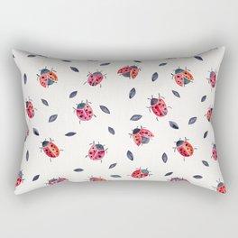 Lucky Ladybugs & Black Leaves Rectangular Pillow