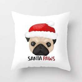 Christmas Pug | Santa Paws Throw Pillow