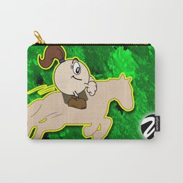 Female Horseback Rider Cartoon Character with Pony Tail Carry-All Pouch